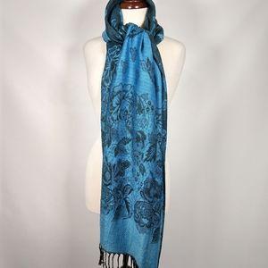 NWT Pashmina blue floral scarf, wrap shawl WOW!